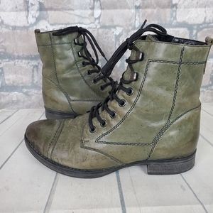 Remonte Leather Lace Up Ankle Boots Olive 36